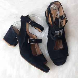 H by Hudson London Suede Heel Sandals Black 10